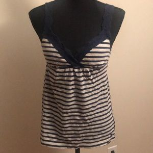 A&F navy blue striped top - XS